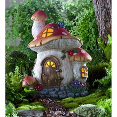 Solar Miniature Fairy Garden Mushroom Cottage with windows that glow at night when the fairies are home Mais Clay Fairy House, Fairy Garden Houses, Garden Art, Garden Ideas, Gnome House, Glow Garden, Toad House, Fairies Garden, Garden Boxes