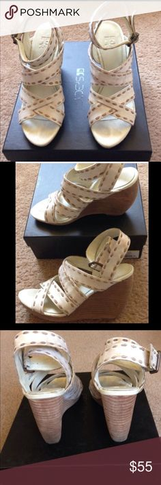Joes Gently used joe's sandals in distressed off white/nude (wedge) Size 7.5 Joe's Jeans Shoes Wedges