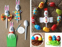 Easter animals craft made with plastic spoons