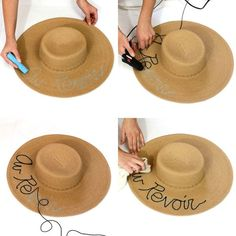 Swimwear & Beachwear for Women : stilettobeats: DIY Eugenia Kim Inspired Straw Hat Chapeau Cowboy, Cowboy Hats, Summer Diy, Summer Hats, Hat Crafts, Kids Crafts, Painted Hats, Hat Decoration, Floppy Hats