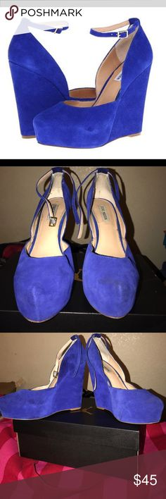 Blue suede wedges Royal blue suede wedges only worn 3 times. Little smudge on the side as shown on photo. Size 10 Steve Madden Shoes Wedges