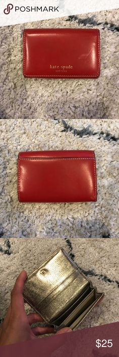 Kate Spade card holder Red leather with gold metallic interior. Numerous pockets. No trades. Accessories