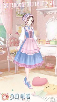 Miracle Nikki Anime Girl Pink, Kawaii Anime Girl, Manga Girl, Pink Girl, Anime Girls, Fashion Design Template, Anime Dress, Estilo Anime, Cute Costumes