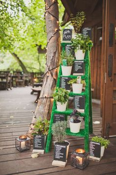 Potted herb and step ladder wedding table plan | seating plan