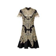 Marchesa (12.545 RON) ❤ liked on Polyvore featuring dresses, short sleeve mini dress, flared mini dress, brown sheath dress, lace mini dress and lace dress