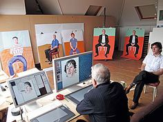 David Hockney in studio drawing at his computer (2008)