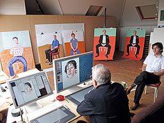 David Hockney in studio drawing in computer, 2008