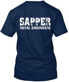 Sapper. Royal Engineers. Tees And Hoodie Navy T-Shirt Back