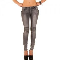 Skinny biker jeans grijs