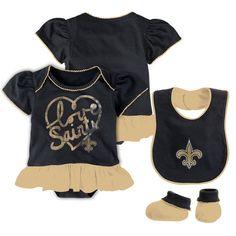 New Orleans Saints Girls' Newborn Fan-Atic Bib Bootie Set - Black/Gold - $22.99