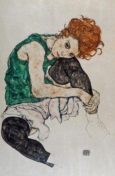 Egon Schiele - Sitzende Frau mit hochgezogenem Knie
