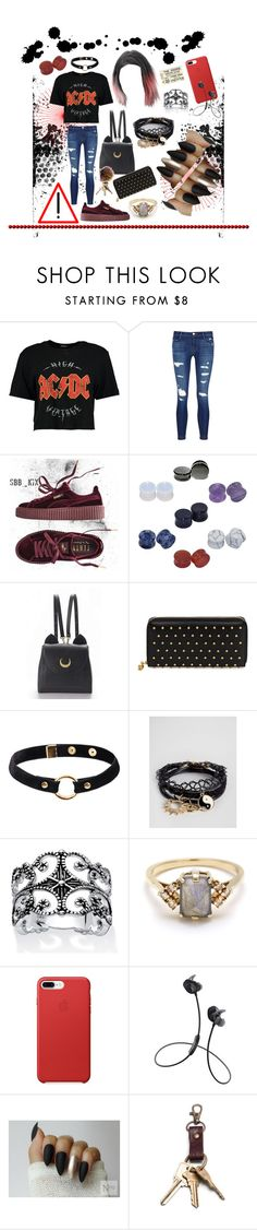 """""""🔴🤘🏼⚫️"""" by lo-rin ❤ liked on Polyvore featuring Boohoo, J Brand, Puma, D&M, WithChic, Alexander McQueen, Nika, ASOS, Palm Beach Jewelry and BEA"""