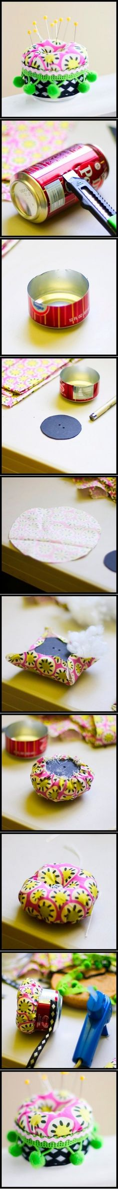 DIY Soda Can Pincushion.....or maybe a plastic container?