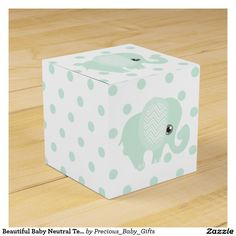 Beautiful Baby Neutral Teal Elephant Favor Boxes