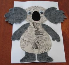 koala newspaper collage for Australia day (January from guybrarian/Phillipa at House of Baby Piranha Kindergarten Crafts, Classroom Crafts, Preschool Crafts, Kids Crafts, Zoo Crafts, Newspaper Collage, Newspaper Crafts, Australia Crafts, Australia Day