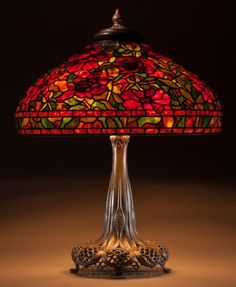 C.1911.  Tiffany Studios Leaded Glass and Bronze Peony Table lamp.: