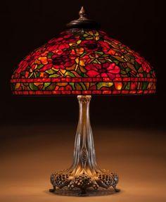 C.1911. Tiffany Studios Leaded Glass and Bronze Peony Table lamp.: