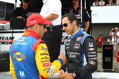 Tony Kanaan and Helio Castroneves at the Mid-Ohio Sports Car Course