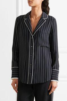 FRAME - Striped Silk Shirt - Midnight blue - x small