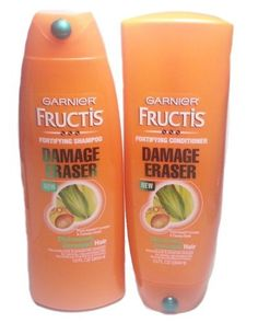 Garnier Fructis Damage Eraser for Distressed Damaged Hair 13 oz. shampoo and 13 oz conditioner. Prevents damage and reconstructs strength for strong, rejuvenated hair.