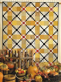 Black & white double 4-patch with yellow and red.  Mad About Plaid book – Black Mountain Needleworks