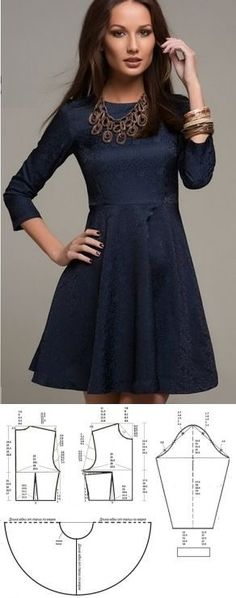Beautiful dress, pattern in Russian Diy Clothing, Sewing Clothes, Dress Sewing Patterns, Clothing Patterns, Robe Diy, Diy Vetement, Diy Couture, Korean Dress, Diy Fashion