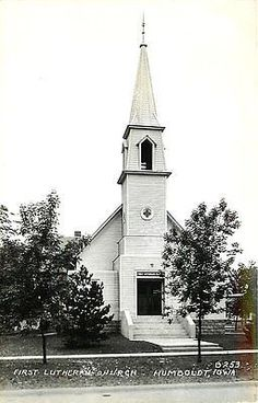 Humboldt Iowa IA 1940 Real Photo Antique Vintage Postcard First Lutheran Church