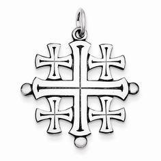 Solid Sterling Silver Jerusalem Cross Pendant