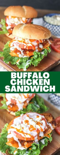 The Buffalo Chicken Sandwich is a classic staple that can easily be made at home using fresh ingredients! Done in less than 15 minutes, this sandwich is an easy dinner or lunch solution! Good Food, Yummy Food, Yummy Recipes, Buffalo Chicken Sandwiches, Salmon Burgers, Meal Planning, Easy Meals, Cooking Recipes, Lunch