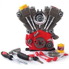 Plastic V-twin engine for kids to pull apart, rebuild, and learn about engines.  Totally getting this for my daughter when she's a bit bigger!