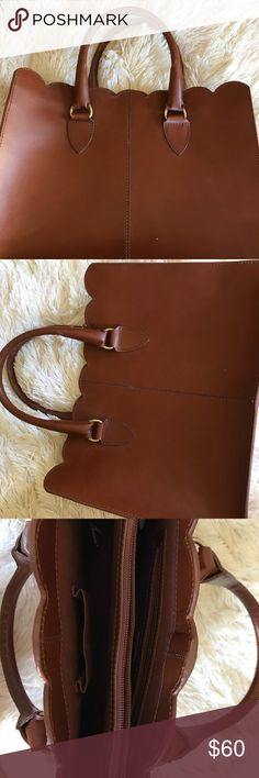 ASOS Scalloped Brown Leather Tote Like brand new! Beautiful tote that is perfect for all of your fall outfits! Fits a 13 inch MacBook! Asos Bags Totes