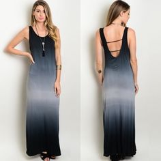 Black Grey Tie-Dye Ombré Maxi Tank Dress New with tags. Sleeveless maxi tank dress featuring an ombré tie-dye coloring of black and grey. Has strappy detailing at the back. Available in size S, M, and L.                                                           🌸95% rayon, 5% spandex.                                             🌸Made in USA.                                                          🌺PRICE IS FIRM UNLESS BUNDLED.                       ❌SORRY, NO TRADES. Boutique Dresses…