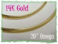 """14K GOLD ~ Omega 20"""" Gold Chain Necklace ~ Very Flexible - Great Jewelry Gift 15.50 Grams"""