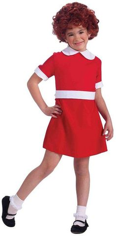 GIRLS RED  SATIN ANNIE DRESS  ORPHAN COSPLAY SMALL 6-8  MEDIUM 8-10  LARGE 10-12