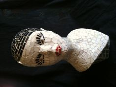 """""""Pixie"""" stained glass mosaic, recycled glass on found mannequin head. Arts Stream, Diy Art Projects, Inspiration, Art Projects, Stained Glass, Statue, Mosiac Art, Sculpture, Art"""