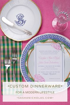 Tablescapes aren�t just for weddings. A tablescape is the first thing guests see before they sit down to eat, and it�s a good way to set the tone for your entire meal. Explore beautiful table settings with custom monogrammed dinner at https://www.sashanicholas.com/shop-all/weave-24k-gold-rimmed-salad-plate-with-monogram/ | Perfect Place Settings | Tablescapes | Dinnerware | China