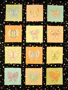 Mylar Colorful Butterflies Quilt