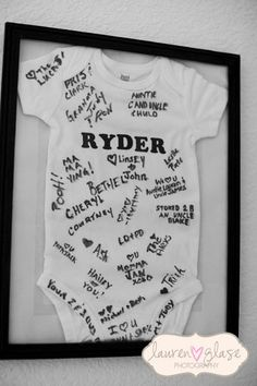 Onesie guestbook idea / decor idea too for nursey Love this idea