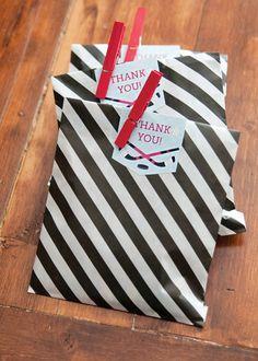 Slapshot Hockey Birthday Party: Referee striped favor bags