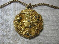 Fairy Wedding Locket Antique Jewelry Art Nouveau Maiden 2 Picture GF Paste c1900 | eBay