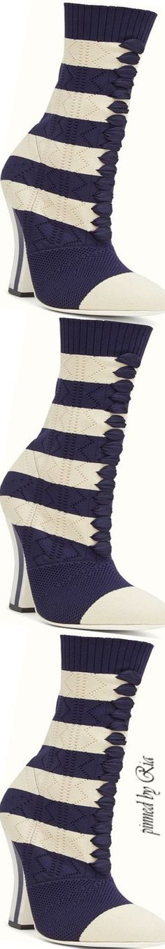 Fendi White & Navy Fabric Boot