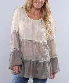 Love this Natural & Dry Mocha Color Block Peasant Tunic