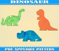 Dinosaurs Three Applique Pattern Template TRex  PDF Download Instant Fabric Shirt Design Print Brother Nursery Wall DIY Boy  Baby Quilt