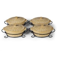 temp-tations® by Tara: temp-tations® Carved Old World™ Set of 4 Mini Oval Covered Casseroles