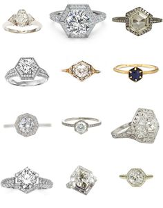 Third row, middle. Soooo pretty and not traditional! Hexagonal Engagement Rings | Fly Away Bride