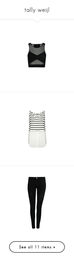 """tally weijl"" by adele-adik ❤ liked on Polyvore featuring tops, sheer mesh crop top, sleeveless crop top, sheer mesh top, sleeveless tops, crop top, blouses, double layer top, layered tops and white top"