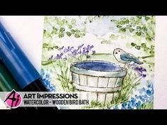 Time for a new Watercolor Wednesday , as Bonnie creates this stunning bird bath in a square, masked frame! Watercolor Bird, Watercolor Paintings, Watercolor Ideas, Watercolour Pens, Water Color Markers, Water Colors, Art Impressions Stamps, Bath Art, Wooden Bird