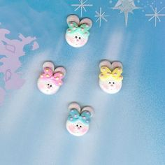 Easter Bunny Set Polymer Clay Bow Centers, Beads, Chunky Pendants