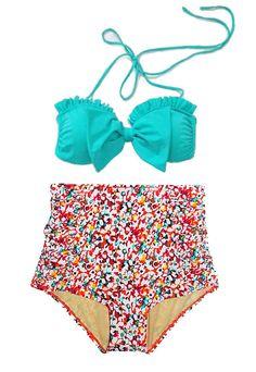 Mint Bow Top and Flora High Waisted Waist Shorts Bottom Swimsuit Swimwear Bikini Bathing suit Woman Womens Lady Adult Female Teen Girl S M