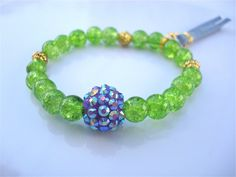 Green Apple and Lilac Chunky Bead Recycled Glass  by tocijewelry, $25.00